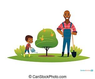 mela, manifesto, figlio, gumboots, educazione, giardino, concept., irrigazione, padre, website., lattina, babbo, illustrazione, acqua, ambientale, frutta, ragazzo, shovel., albero, bambini, vettore, stare in piedi