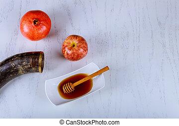 mela, melagrana, e, miele, tradizionale, cibo, di, ebreo, anno nuovo, rosh, hashana., spazio copia, fondo