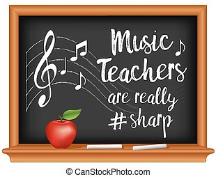 #, mela, musica, insegnanti, affilato, lavagna