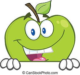 mela, nascondendo dietro, uno, segno bianco