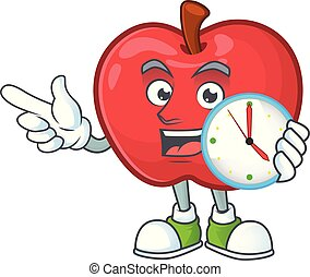 mela, orologio, dessert, carattere, frutta, salute, mascotte