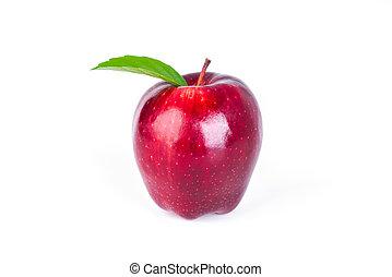 mela rossa, con, foglia verde, bianco, fondo, .