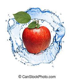 mela rossa, con, foglie, e, acqua, schizzo, isolato, bianco