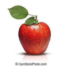 mela rossa, con, foglie, e, gocce acqua, isolato, bianco