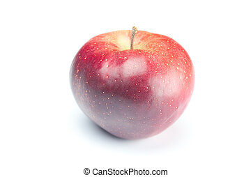 mela rossa, con, gocce acqua, isolato, bianco