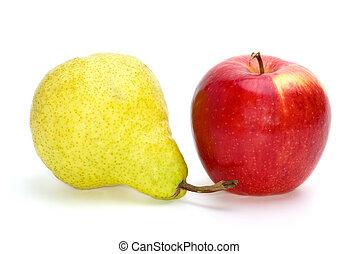 mela rossa, e, pera giallo-verde