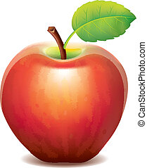 mela rossa, isolato, bianco