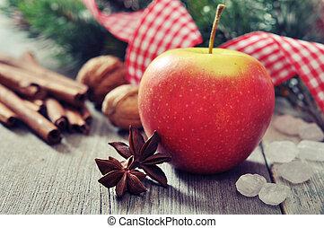 mela, rosso, cannella