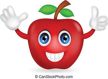 mela, rosso, cartone animato