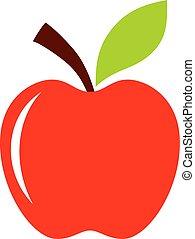 mela, rosso, icona