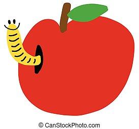 mela, rosso, verme