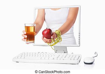 mela, schermo, mano, femmina, computer, presa a terra, venuta, rosso, fuori