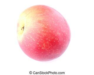 mela, sfondo rosso, bianco