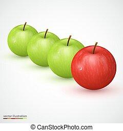 mela, uno, verde, principale, rosso, fila