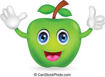 mela verde, cartone animato