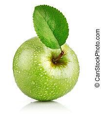 mela verde, frutte, con, foglia