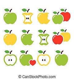 mela, verde giallo, centro mela