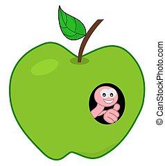 mela verde, verme