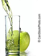 mela, vetro, isolato, succo, verde, fresco, bianco