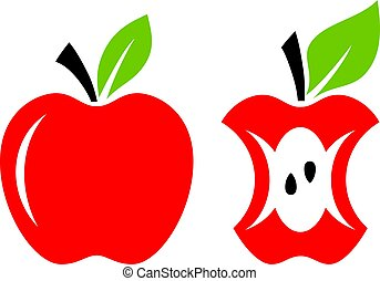 mela, vettore, centro, cartone animato, rosso
