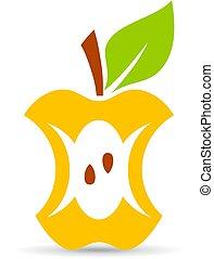 mela, vettore, morso, cartone animato