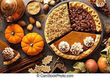 mela, zucca, sbriciolare, tradizionale, pecan, cadere, torte