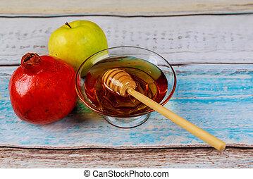 melagrana, mela, e, miele, tradizionale, cibo, di, ebreo, anno nuovo, celebrazione, rosh, hashana.