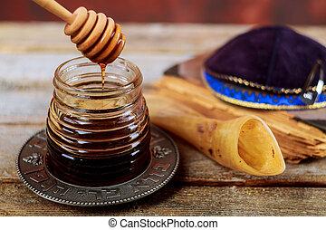 melagrana, mela, e, miele, tradizionale, cibo, di, ebreo, anno nuovo, celebrazione, rosh hashana