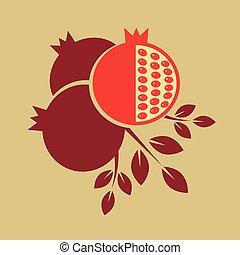 melagrana, vettore, fruit., illustration.