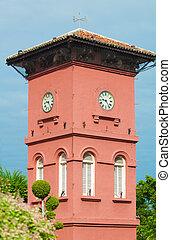 Melaka, relógio, local, famosos,  UNESCO, torre