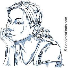 melancólico, cute, aproximadamente, illustration., imagem, pensando, hand-drawn, emoções, something., girl., tema, vetorial, pretas, artisticos, calmo, retrato, branca, menina, delicado