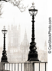 view of London - melancholic view of London, black and white...