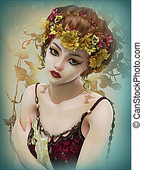 Melancholy, 3d CG - Portrait of a Girl with Flowers in her...