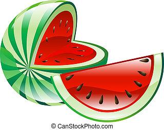 melancia, fruta, ícone, clipart