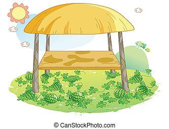 melancia, jardim, ilustração