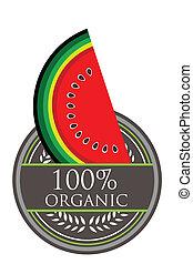 melancia, orgânica, etiqueta