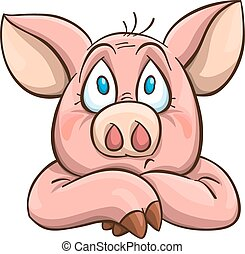 melancolia, caricatura, porca