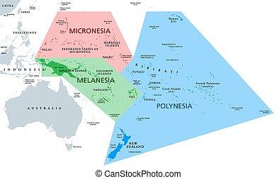 melanesia, mappa, politico, polynesia, micronesia