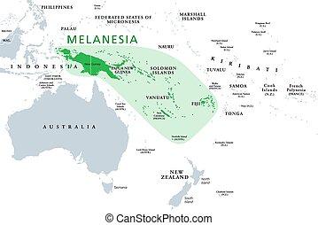 Melanesia, subregion of Oceania, political map. Extending from New Guinea in southwestern Pacific Ocean to Tonga, including Fiji, Vanuatu, Solomon Islands and Papua New Guinea. Illustration. Vector.