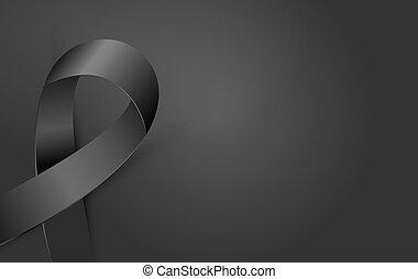 melanoma, lutto, nero, nastro, morte, poster., terrorismo, consapevolezza, icona