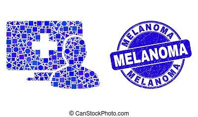 melanoma, tłoczyć, pacjent, medyczny, błękitny, online, ...