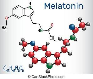 Melatonin molecule, hormone that regulates sleep and wakefulness. Structural chemical formula and molecule model. Vector illustration