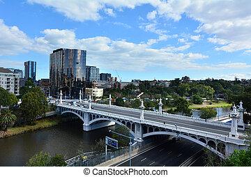 melbourne , γέφυρα , δρόμοs , - , εκκλησία