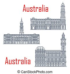 General post office of Melbourne, Adelaide Town hall buildings. Vector architecture of Australia, Adelaide post landmark. Victorian heritage register, town halls