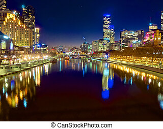melbourne at night looking down the yarra river - looking...