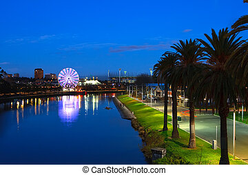 Melbourne at night, view on Yarra river