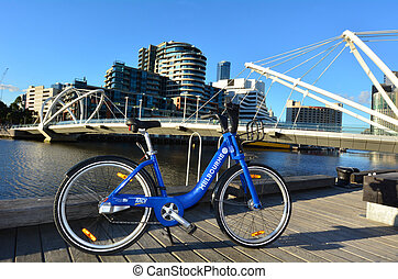 Melbourne Bike Share - MELBOURNE, AUS - APR 14 2014:Rental...