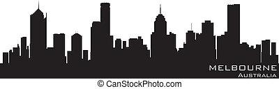 melbourne, austrália, skyline., detalhado, vetorial, silueta