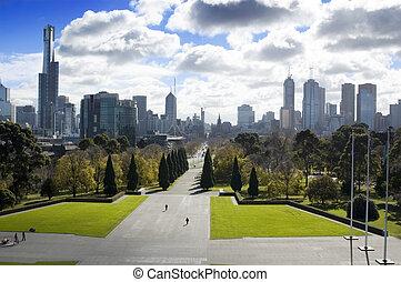 Melbourne, Australia - A hilltop view of Melbourne, the...