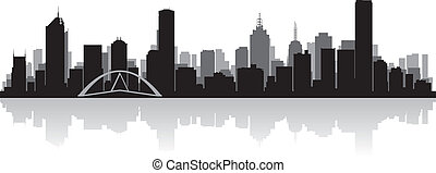 melbourne, australia, miasto skyline, wektor, sylwetka